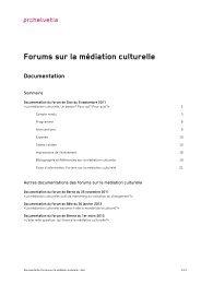 Forums sur la médiation culturelle - Pro Helvetia