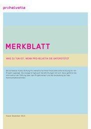 Merkblatt für Beitragsempfänger (PDF) - Pro Helvetia