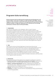Programm Kulturvermittlung - Pro Helvetia