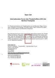 Das Internationale Forum des Theatertreffens - Pro Helvetia