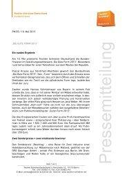 """PM 05 / 10. Mai 2013 """"DIE GUTE FORM 2013"""" Ein rundes Ergebnis ..."""