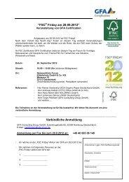 """""""FSC® Friday am 28.09.2012"""" Verbindliche ... - GFA Certification"""