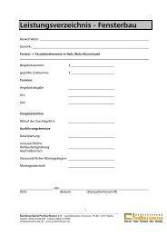 Leistungsverzeichnis - Bundesverband ProHolzfenster eV
