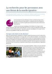 La recherche pour les personnes avec une lésion de la ... - Pro Infirmis