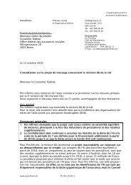 Consultation sur le projet de message concernant la ... - Pro Infirmis