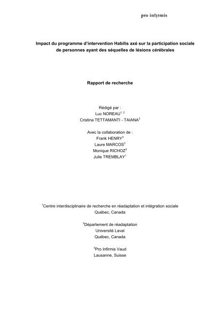 Rapport de recherche du programme d'intervention ... - Pro Infirmis