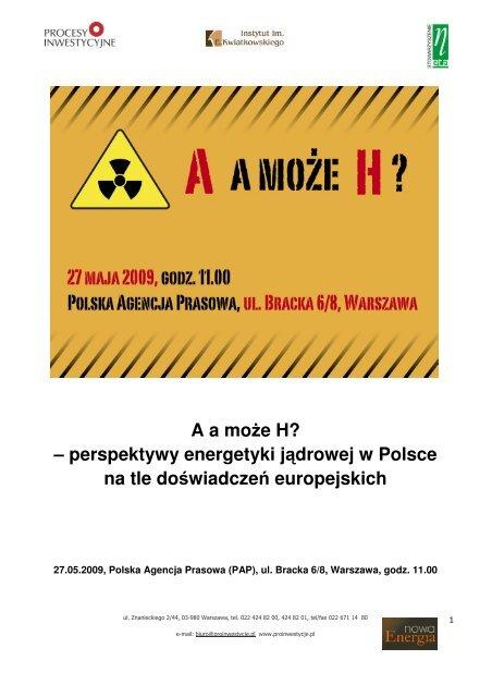perspektywy energetyki jądrowej w Polsce na tle doświadczeń ...