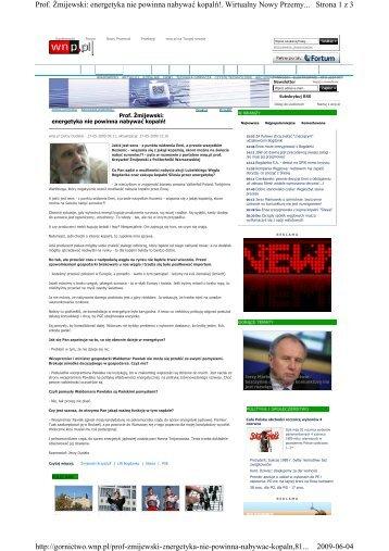 Strona 1 z 3 Prof. śmijewski: energetyka nie powinna nabywać ...