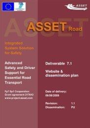Deliverable 7.1 Website & dissemination plan - EU Projekt ASSET
