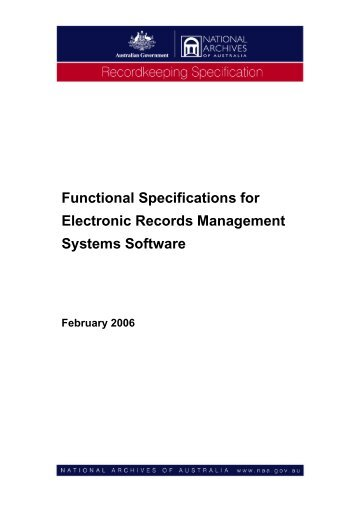 Specifications for Electronic Records Management Systems Software