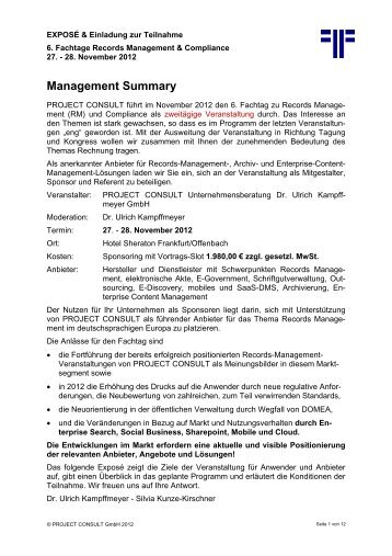 Management Summary - PROJECT CONSULT ...