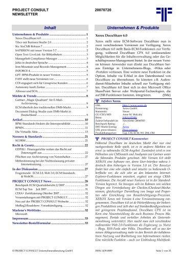 20070720 - PROJECT CONSULT Unternehmensberatung Dr. Ulrich ...