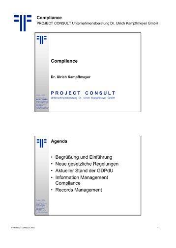 Compliance - Project Consult Unternehmensberatung Dr. Ulrich ...
