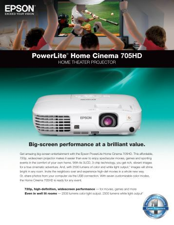 PowerLite® Home Cinema 705HD - Product Brochure - Epson