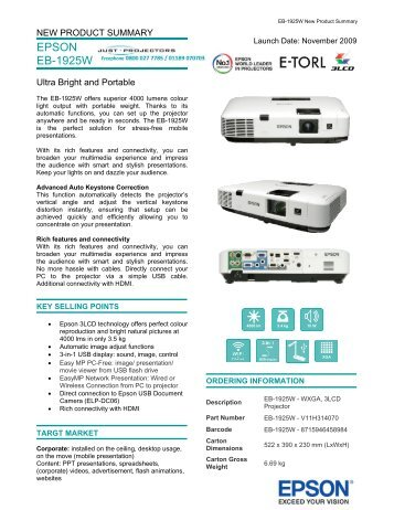 New Product Summary - Projector