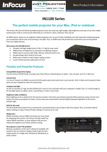 IN1100 Series - Projectors from ProjectorPoint