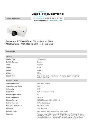 Panasonic PT EX600EL - LCD projector - 6000 ANSI lumens - XGA ...