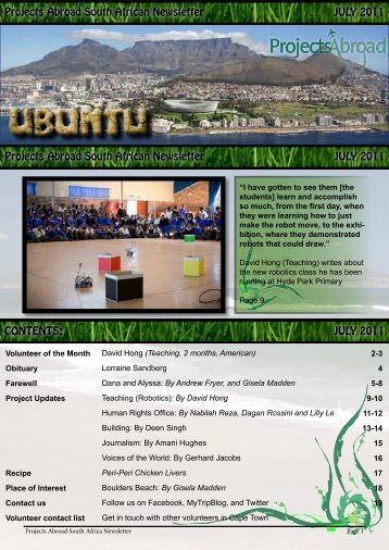 Projects Abroad South African Newsletter JULY 2011 Projects ...