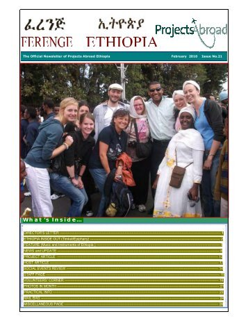 Projects Abroad Ethiopia Official Newsletter February 2010