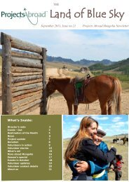 The Official Newsletter of Projects Abroad Mongolia