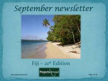 September newsletter - Projects Abroad