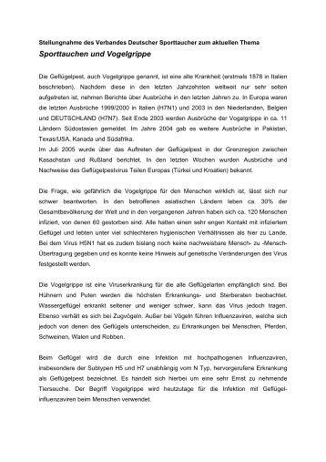 Sporttauchen und Vogelgrippe - DEUTSCHER UNTERWASSER ...