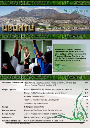 Projects Abroad South African Newsletter MARCH 2012 Projects ...