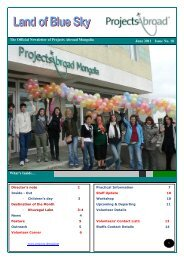 The Official Newsletter of Projects Abroad Mongolia June 2011 ...