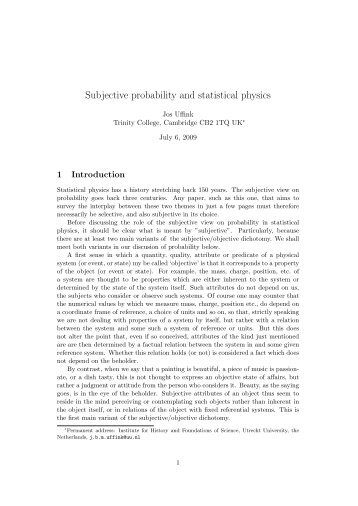 Subjective probability and statistical physics