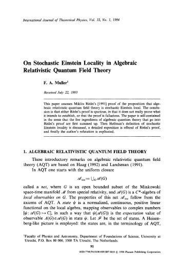 On Stochastic Einstein Locality in Algebraic Quantum Field Theory