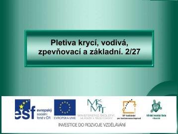 Pletiva krycí, vodivá, zpevňovací a základní - Projekt EU
