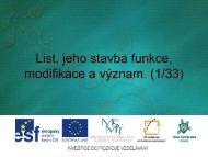 List, jeho stavba funkce, modifikace a význam. (1/33) - Projekt EU