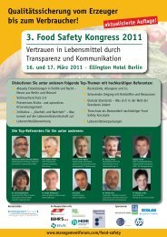 3. Food Safety Kongress 2011 - AFC Management Consulting