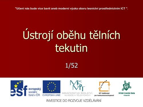 Ústrojí oběhu tělních tekutin - Projekt EU