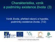 Charakteristika, vznik a podmínky existence života (3) - Projekt EU