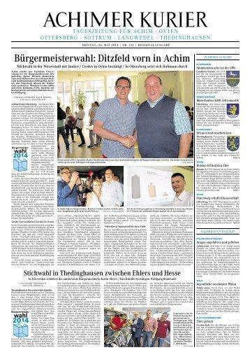 Bürgermeisterwahl: Ditzfeld vorn in Achim