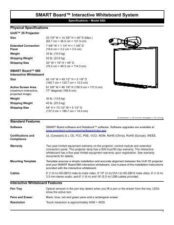 SMART Board Interactive Whiteboard Specifications - Model 680i