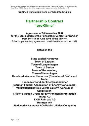 "Partnership Contract ""proKlima"" - proKlima Hannover"
