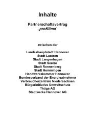Inhalte - Partnerschaftsvertrag - proKlima Hannover