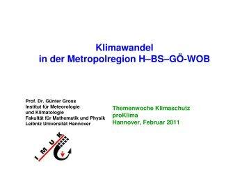 """Vortrag Prof. Dr. Günter Gross """"Klimawandel in der Metropolregion"""""""