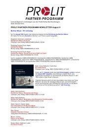 PROLIT-PARTNER-PROGRAMM NEWSLETTER August II