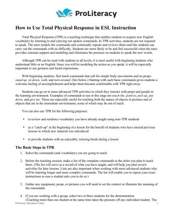 How to Use Total Physical Response in ESL Instruction - ProLiteracy
