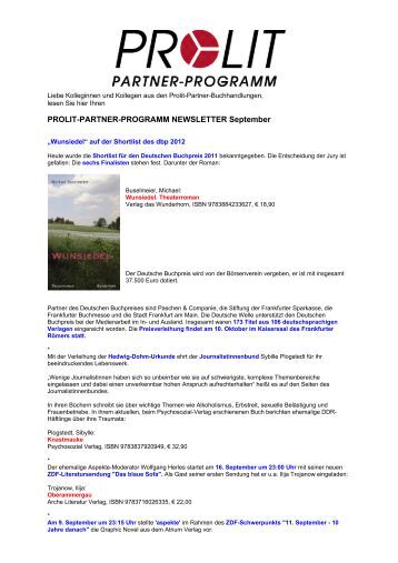PROLIT-PARTNER-PROGRAMM NEWSLETTER September