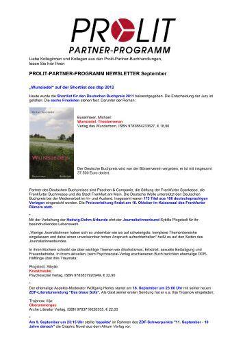 PROLIT-PARTNER-PROGRAMM NEWSLETTER September