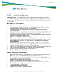 Job Title: Administrative Assistant Division: Office of the ... - ProLiteracy
