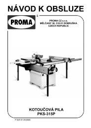 Návod k použití Kotoučová pila PROMA PKS-315P - Skořupa nářadí ...