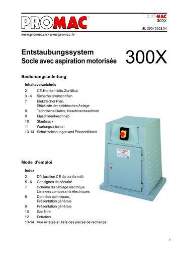 Entstaubungssystem Socle avec aspiration motorisée 300X - Promac