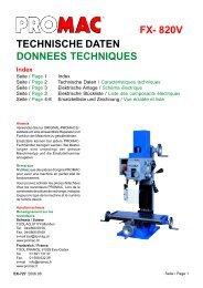 TECHNISCHE DATEN DONNEES TECHNIQUES FX- 820V - Promac