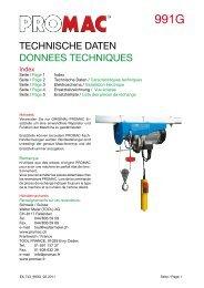TECHNISCHE DATEN DONNEES TECHNIQUES - Promac