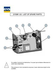 GYSMI 133 / LIST OF SPARE PARTS - Promac